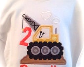 Applique Construction Crane with Number and Name