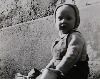 Vintage Baby Photo - Outside with Toys
