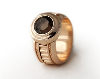 Smoky quartz 14k Rose Gold ring-unique statement Rose gold engagement ring, anniversary ring-Promise Ring, birthstone ring, brown stone ring