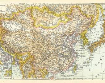 1957 China, Japan and Korea Antique spanish map