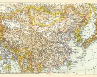 1957 China, Japan and Korea Antique spanish map