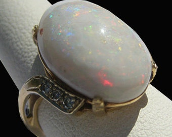 Incredible Large Antique Australian Opal Diamond Ring Art Deco 1930's Wedding Estate