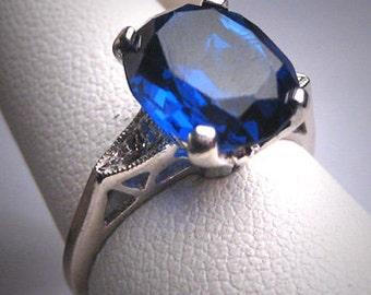 Antique Sapphire Diamond Wedding Ring Vintage Deco White Gold Engagement 4ct