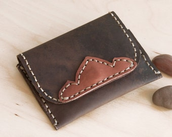 SALE, Hand Sewn Leather Card Holder, Slim Unisex Wallet in Dark Brown