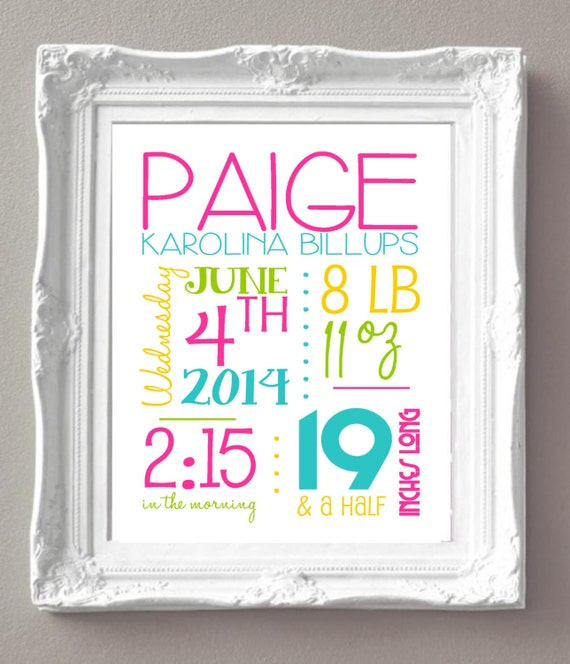 Poster Weights Etsy: Items Similar To Custom Birth Announcement Sign