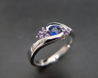 blue sapphire with amethyst engagement ring in 14k white gold blue sapphire ring amethyst - Amethyst Wedding Ring
