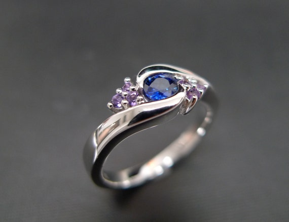 Blue Sapphire with Amethyst Engagement Ring in 14K White Gold