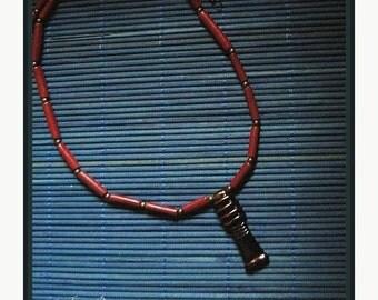 Egyptian Black Djed pillar necklace with dark red tube beads -symbol of Osiris