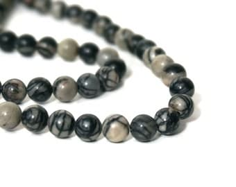 6mm black silk stone bead, round gemstone beads, black and white onyx marble, full & half strands available  (1012S)