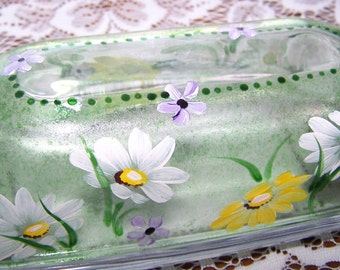 Daisy Butter Dish hand painted