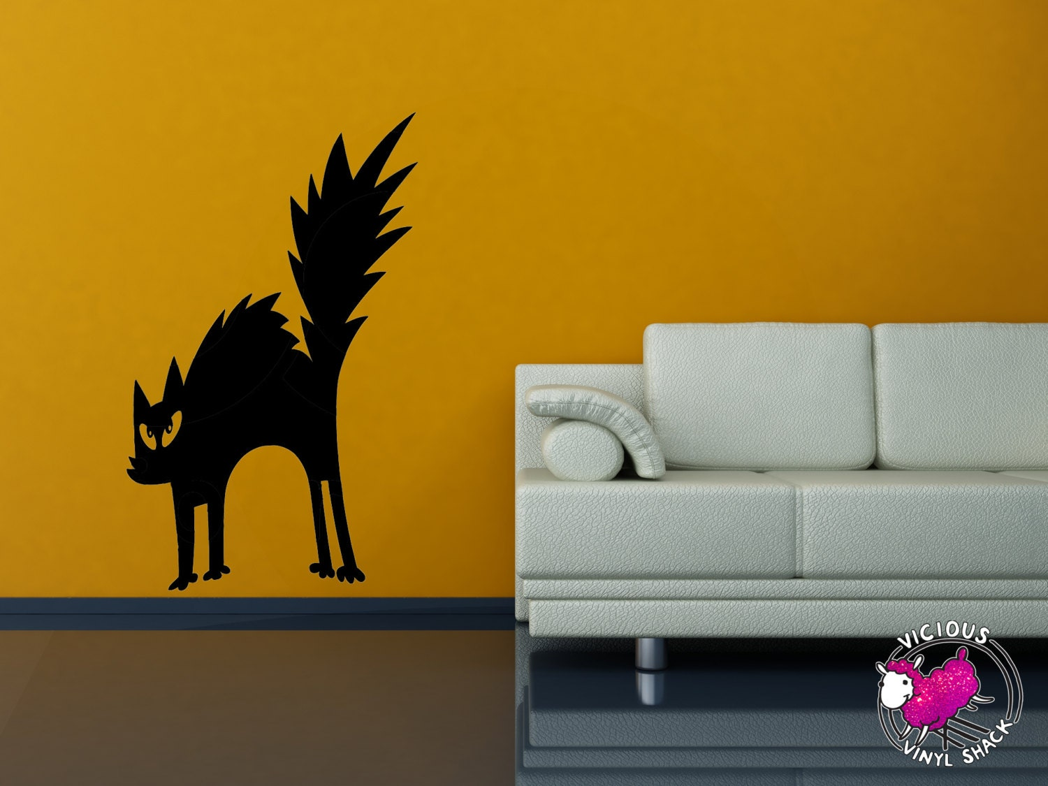 Spooky Halloween Black Cat Wall Decal Stickers Multiple