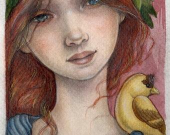"Portrait of a Lady and a Bird....Original 5""x7"" Illustration"