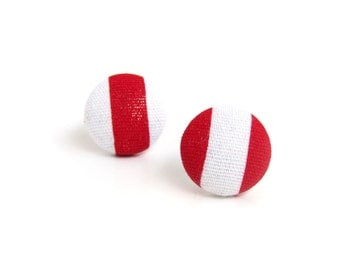 Red white earrings - striped stud earrings - fabric covered studs - tiny button earrings - spring earrings
