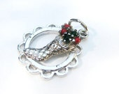 Christmas jewelry silver charm, 17mm vintage Christmas stocking sterling silver charm, gift for her