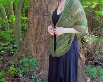 Rainforest Wrap hand knit shawl