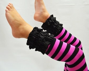 Black and pink stripe ruffled footless tights