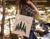 The Adventure Begins - Canvas Tote Bag (You Choose Handle Color)