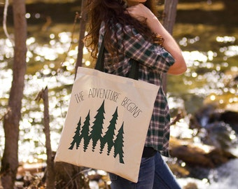 The Adventure Begins - Canvas Tote Bag (Green Handle)