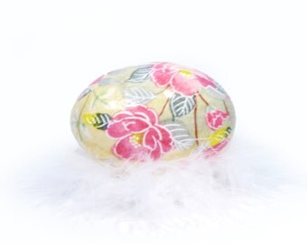 Decoupage Washi Egg  - Cottage Rose Shabby Chic -Double size Large Egg