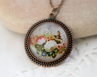 Flowers and bird  Necklace, Antique Copper Pendant, Floral Jewelry, Zhostovo Russian Folk Art
