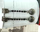 Metal Dangle Earrings- made w/ antiqued metal ball beads
