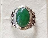 jade Men Ring, Gemstone Ring, Ornamental Sterling Silver Ring, Silver 925, OOAK