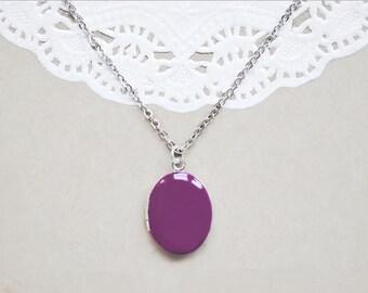 Violet Enamel Photo Locket - Keepsake Necklace