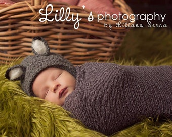 Newborn Baby Boy Girl Crochet Wolf Photo Prop Hat with Faux Fur Ears - NOW with OPTIONAL TAIL