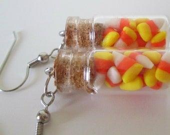 Jar of Candy Corn Earrings