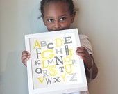 11x14 Modern Alphabet print in yellows and grays