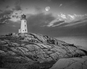 Lighthouse at Peggy's Cove Harbor in the Moonlight by a Fishing Village in Nova Scotia Canada A Black and White Fine Art Seascape Photograph