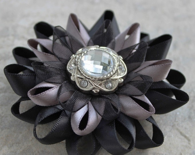 flower hair clip, black and silver hair flower, black hair flower, black hair clip