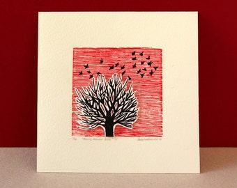 Linocut print of tree and birds - original artwork - red sky - die cut tree