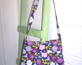 SALE Pleated Hobo Slouch Cross Body Tote Bag - Purple Green Grey Pink Flowers and Birds