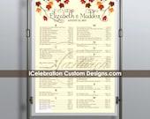 Autumn Wedding Chart - FREE RUSH SERVICE