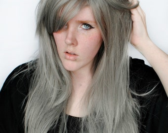 SALE Silver wig, Gray Scene wig, Grey Cosplay wig | Straight Long Layered Wig | Straight Gray Wig | Silver Stars
