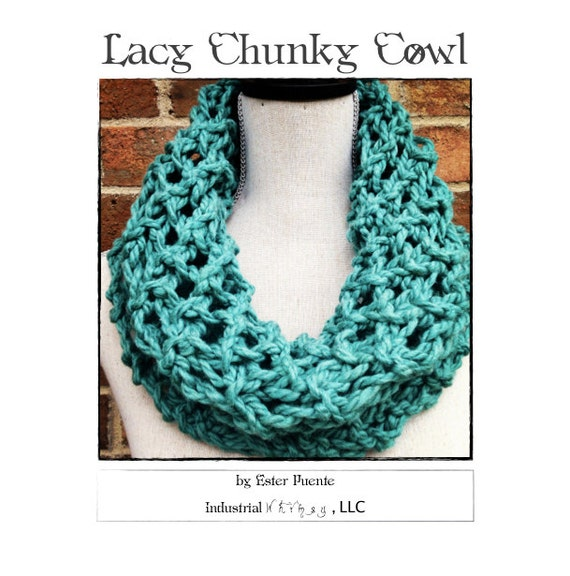 Lacy Chunky Cowl Knitting Pattern Craft Party Circle Loop