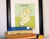 I Love You in Ireland // Modern Baby Nursery Decor, Typography Poster, Irish Map, Giclee, Illustration, European Travel Theme, Digital