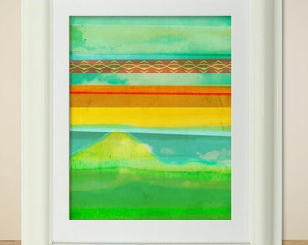 LOMO No. 15 // Abstract Painting, Art Print, Clouds, Sky, Rainbow, Coloful, Landscape, Mixed Media, Photography, Digital Print, Red, Blue