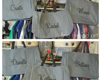 Tote Bag Name Embroidery Teacher Student College Gym Bridesmaid Bachelorette