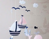 "Baby Mobile - Sailboats and Whales Crib Mobile - ""Baby Girl Navy ""  - Handmade Nursery Felt  Mobile (Match your bedding)"