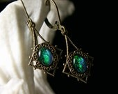 Peacock Blue Green Dichroic Crystal Opal Drop Victorian Earrings Antiqued Bronze Filigree Tiranic Temptations Vintage Bridal Style Jewelry