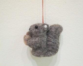 Mini Squirrel Ornament - Felted Squirrel - Needle Felted Miniature