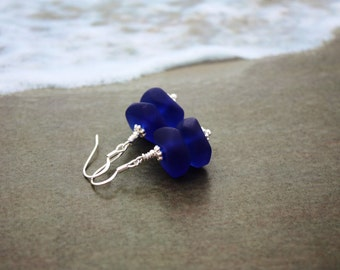 Cobalt Blue Sea Glass Earrings, Seaglass Earrings, Beach Glass Earrings, Sea Glass Jewelry, Seaglass Jewely, Beach Wedding Ocean Jewelry 090