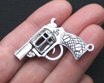 Large Gun Charm Antique  Silver Tone 3D - SC2259