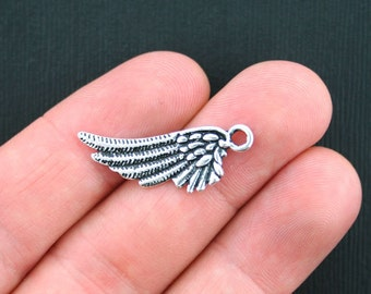 10 Wing Charms Antique Silver Tone 2 Sided - SC3556