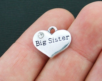 4 Big Sister Heart Charms Antique Silver Tone 2 Sided with Inset Rhinestones - SC3980