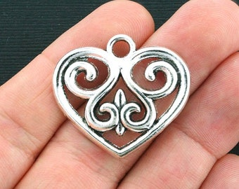 4 Large Heart Charms Antique Silver Tone - SC4101