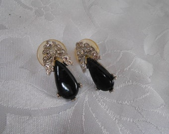 Art Deco style black glass and floral stud earrings, retro earrings, signed earrings, elegant earrings