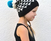 Toddler Baby Boy / Girl Hand Knitted Slouch Hat / Beanie Turquoise blue / Black / White with Triangles, Pom pom, 12-18 months, 2T 3T 4T 5T